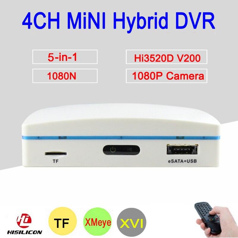 1080 P Macchina Fotografica del CCTV Hi3520D XMeye 4 Canali 4CH 1080N 25fps 6 in 1 Hybrid Mini NVR TVI CVI AHD DVR Surveillance Video registratore