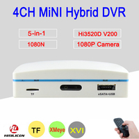 1080P CCTV Camera XMeye Hi3520D 4 Channel 4CH 1080N 25fps 6 In 1 Hybrid Mini NVR