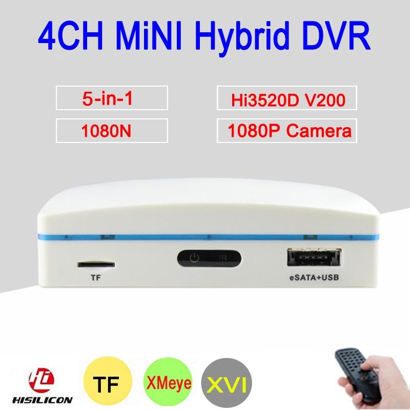 1080P CCTV Camera XMeye Hi3520D 4 Channel 4CH 1080N 25fps 6 in 1 Hybrid Mini NVR TVI CVI AHD DVR Surveillance Video Recorder 4ch 8ch 1080n cctv ahd dvr nvr xvr video
