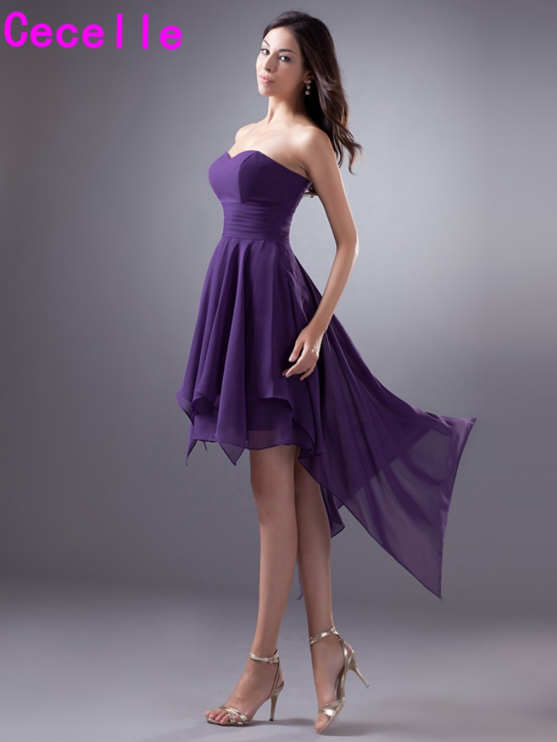 Purple short high low chiffon bridesmaid dresses cheap plus size purple short high low chiffon bridesmaid dresses cheap plus size simple sweetheart informal country western wedding party dress in bridesmaid dresses from ombrellifo Choice Image