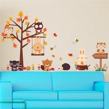 Милые наклейки на стену из ПВХ с изображением совы, кролика, бабочки, дерева для детской комнаты, художественные наклейки на стену в виде животных, плакаты, diy Фреска