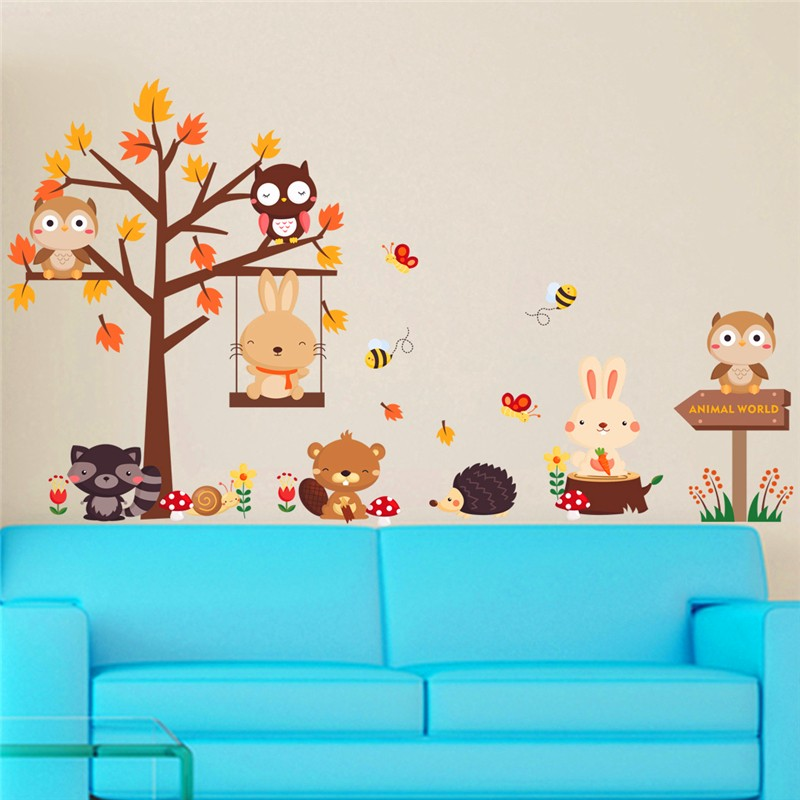 Lovely Owl Rabbit Butterfly Tree Pvc Wall Stickers For Kids Rooms Decor Art Cartoon Animals Wall Decals 2017 Posters Diy Mural