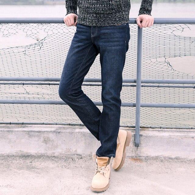 Winter blue and dark blue jeans men slim straight denim pants plus size  28,38 high quality cotton pockets decorated men\u0027s jeans