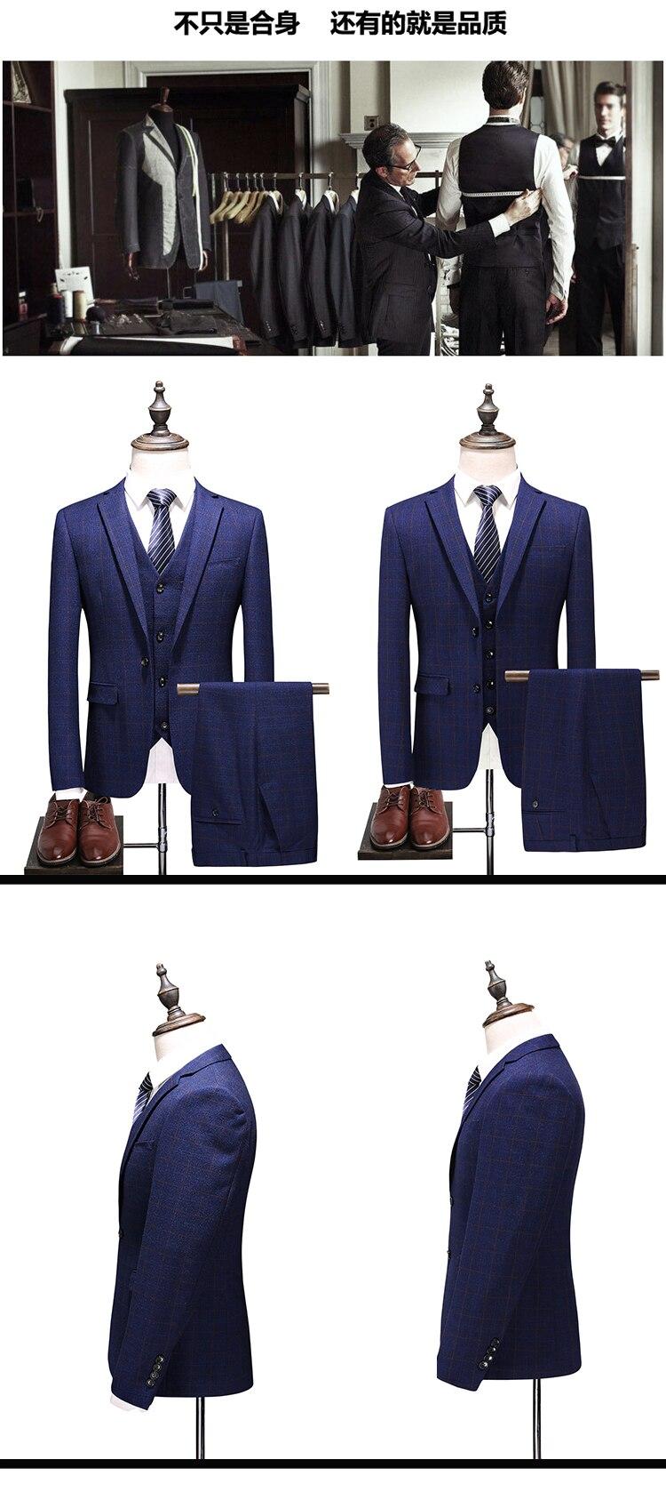(Jaqueta + colete + calças) moda masculina