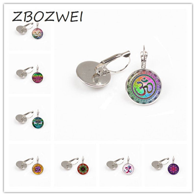 ZBOZWEI Om Aum Ohm Buddha earring Namaste Yoga Jewelry Hinduism Symbol Pendant Meditation Hindu Sweater earring for Women gift