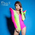 Fashion Jazz harem ds women hip hop dance singer costume performance wear sexy patchwork neon sexy one piece coverall Bodysuit