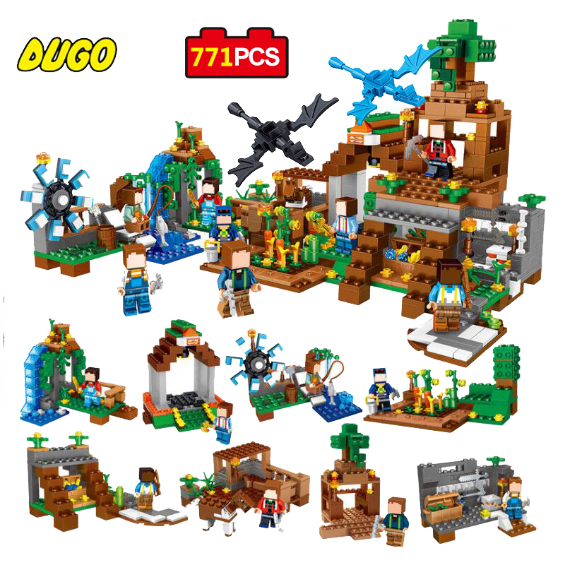 DUGO 771pcs 8 in1 Minecrafted Manor Estate House My World Model Building Blocks Set Compatible Legoed Educational Toys For Kids