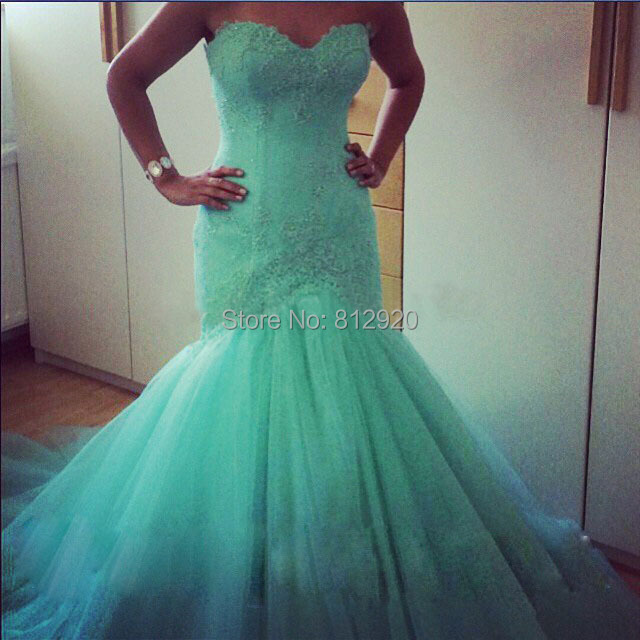 French Lace Mermaid Wedding Dress: Sweetheart Mermaid French Lace Top Green Tulle Dropped