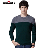 Seven7 Vintage Winter Sweaters Men Pullovers Brand Striped Patchwork Wool Cashmere Sweaters 2017 New Arrival Clothing