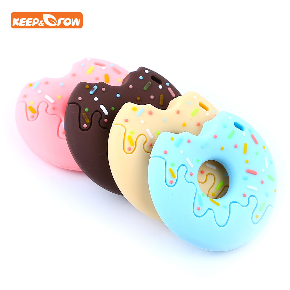 Keep&grow Gingerbread Man Raccoon Donut Silicone Teether Latex Free Baby Teething Toy Baby Gift Food Grade Silicone Teether Bead