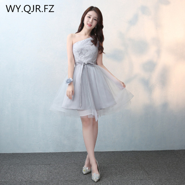 SJZL0316D#Lace up oblique shoulder gray new bridesmaid dresses short ...