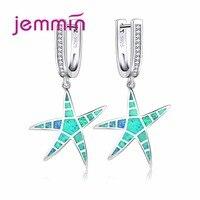 Jemmin 2017 Nova Descoberta Big Blue Star Ear Pingente Pavimentada cheio de Cristal Opala de Fogo 925 Sterling Silver Brincos para As Mulheres casamento