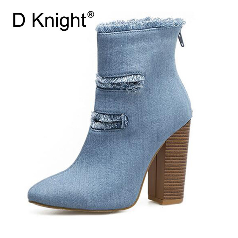 2017 Winter Ankle Boots For Women Fashion Round Toe High Heels Women Booties Black Blue Denim Ladies Casual Zip Boot Shoes Woman цена 2016