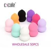 Cocute 50pcs/lot Soft Cosmetic Sponge Powder Puff Pro Beauty Makeup Sponge Power Puff Gourd Smooth Puff