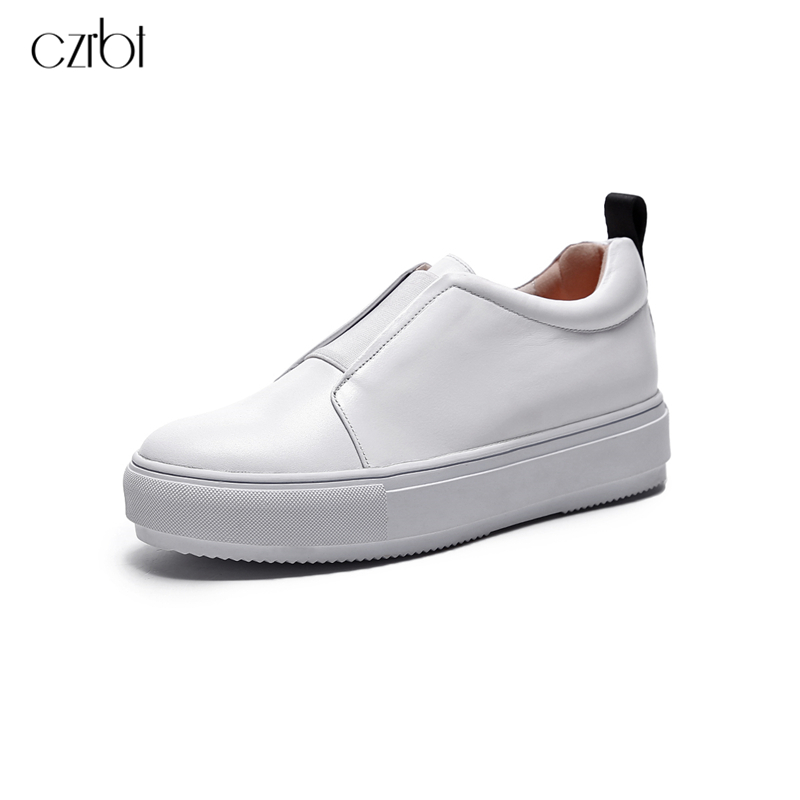 CZRBT New Arrive Women Shoes Sweethearts Small White Shoes Slip-On Genuine Leather Flat Shoes Woman Round Toe Casual Flats new 2017 mens white color genuine leather slip on flat casual shoes cool guys brand hip hop shoes size 38 44