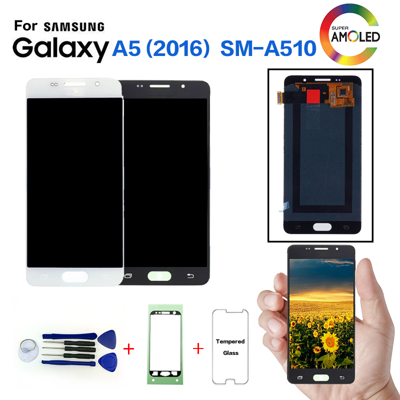 AMOLED For SAMSUNG Galaxy A5 2016 A510 SM-A510F Display Screen replacement for Samsung A510FD A5108 A5100 lcd screen moduleAMOLED For SAMSUNG Galaxy A5 2016 A510 SM-A510F Display Screen replacement for Samsung A510FD A5108 A5100 lcd screen module