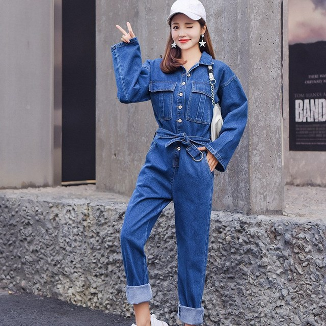 2018 Women Long Sleeve Denim Jumpsuit Solid Turn Down Collar Long