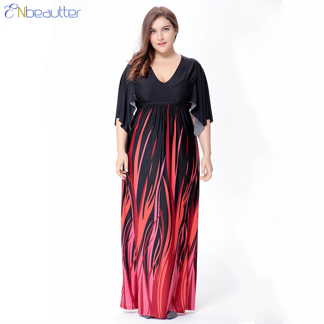ENbeautter Plus Size Women Summer Beach Dress XL 6XL Print Fat MM ...