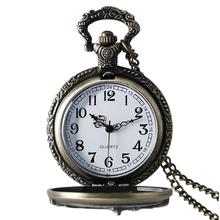 Antique Bronze Motorcycle Motorbike MOTO Pocket Watch Necklace Pendant Mens Gift