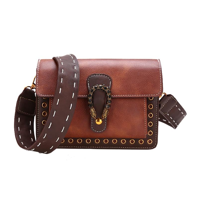 Vintage Brown Carving Hasp Lock Women s Handbag Wide Strap Fashion Shoulder Bags for Women 2018 PU Leather bolsa feminina Slip