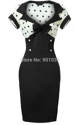 Free Shipping NEW VINTAGE CHIC 1950S ROCKABILLY RETRO BLACK PENCIL WIGGLE PIN UP PARTY DRESS 8-24 ...