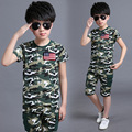 The New 2016 Joker Virgin Suit Boy Children's Summer Wear Camouflage Two-piece Clothes Kids Boys