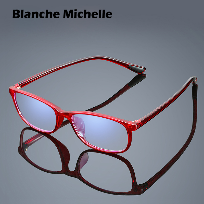 Blanche Michelle TR90 Quadro Anti-azul Óculos de Leitura Das Mulheres Dos Homens do Retângulo dos homens Ultraleves Óculos 1.0 1.5 2.0 2.5 3.0 3.5 4.0