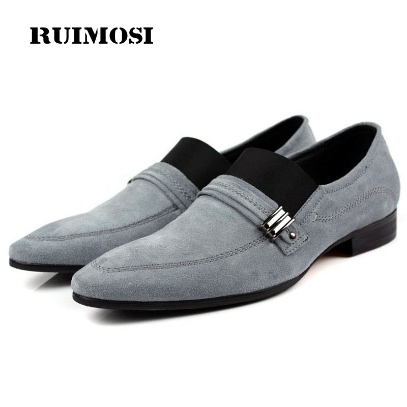 RUIMOSI Hot Formal Designer Dress Shoes Genuine Leather Suede Loafers Luxury Brand Men's Slip on Comfortable Flats For Male DF29