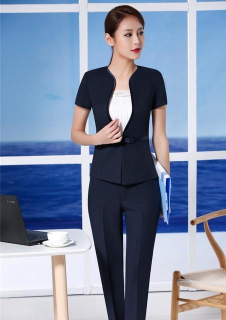 96ac7b7a21c0 Summer Two Piece Sets Women Business Suits Work Wear Pant and Jacket Sets  Ladies Office Uniform