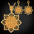 Sun Flower Jewelry Drop Earrings And Pendant Necklace Set For Woman Gift Yellow Gold Plated Dubai Gold Plated Jewelry Set PE225