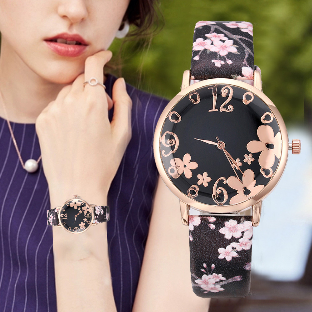 Fashion Women Female Watch Quartz Leather Causal Watches Embossed Flowers Small Fresh Printed Belt Dress Wristwatch Gifts