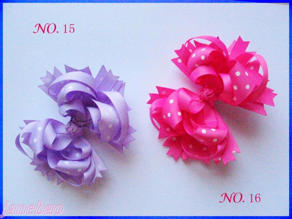 free shipping 50pcs  4.5'' polka dot Hair Bow Girl Funky boutique bows Layered Hairbows-in Hair Accessories from Mother & Kids    1