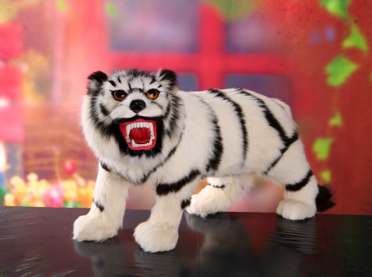 simulation tiger large 55x30cm white tiger toy fur hard model handicraft decoration gift h1239 large 30x20x15cm simulation white cat miaow sounds furry fur hard model home decoration christmas gift h1168