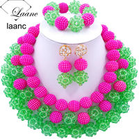 Laanc Fashion Hot Pink Light Green African Beads Jewellery Sets 2017 Nigerian Wedding Necklace and Earrings for Women J3PC035
