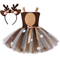 2019 Girls Costume tutu Dresses Child Summer Dress for kids 2 8Y Birthday Party Children's clothes Deer Bambi