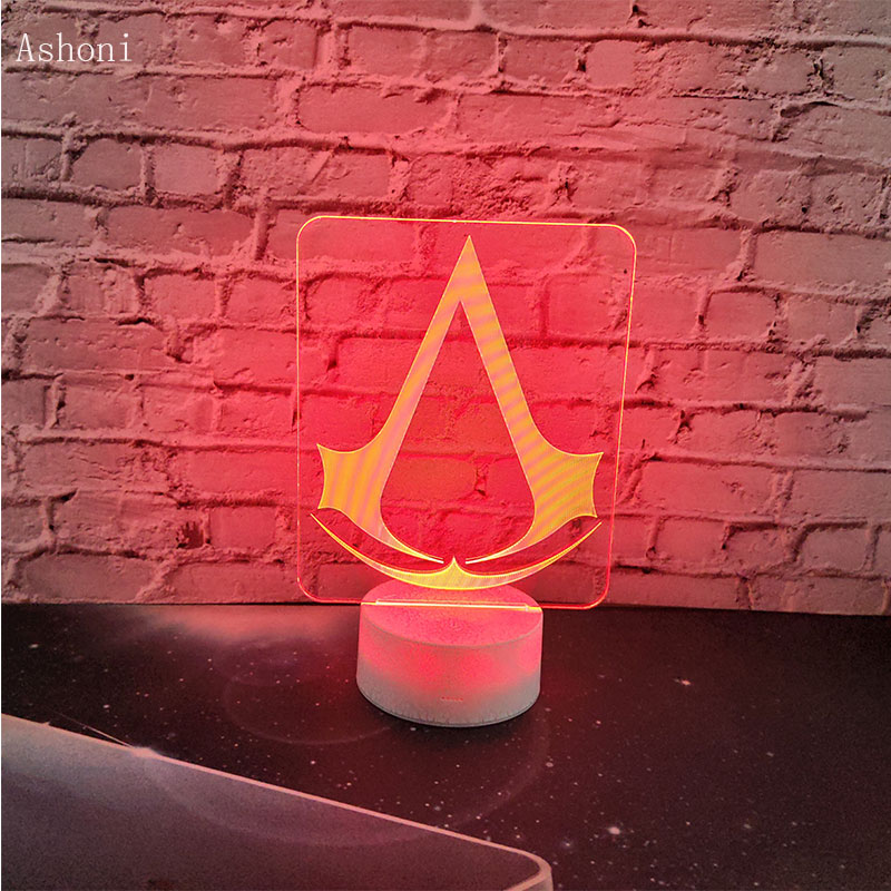Assassin Creed Ezio 3D LED Night Light Touch Switch Table Desk Lamp Xmas Gift