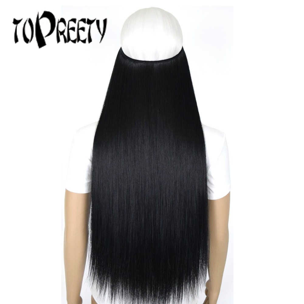 TOPREETY Heat Resistant B5 Synthetic Hair 50g Straight Elasticity Invisible Wire Halo Hair Extensions 8056
