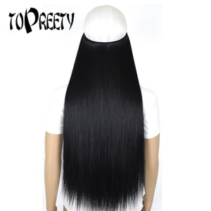 TOPREETY Heat Resistant B5 Synthetic Hair 50g Straight Elasticity Invisible Wire Halo Hair Extensions
