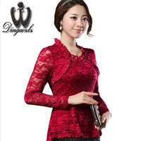 2015 Plus Size Women Clothing Spring Lace Shirt Tops Cutout Basic Female Elegant Long Sleeve Lace