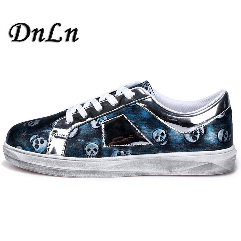 Casual Men Shoes Cool Punk Skull Printed Lace-Up Flat Shoes For Man Male Comfort Leisure Flats Breathable D30 2016 new autumn winter man casual shoes sport male leisure chaussure laced up basket shoes for adults black