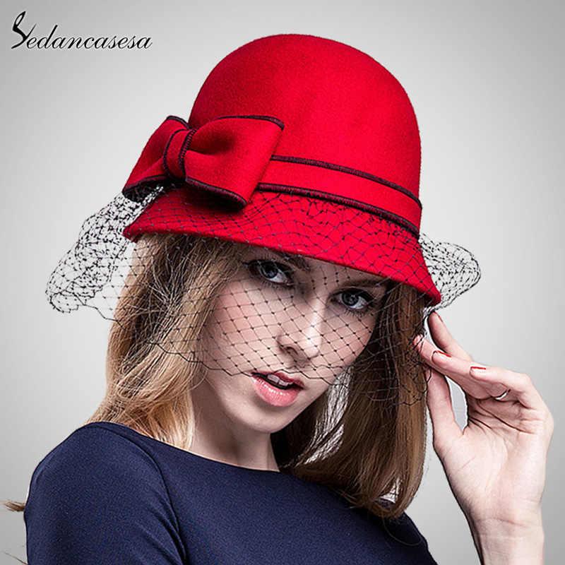 d92aaf26c65 ... Sedancasesa Women s cloche hat fashion Autumn Winter keep warm cute  bowknot wool felt bucket hats for ...