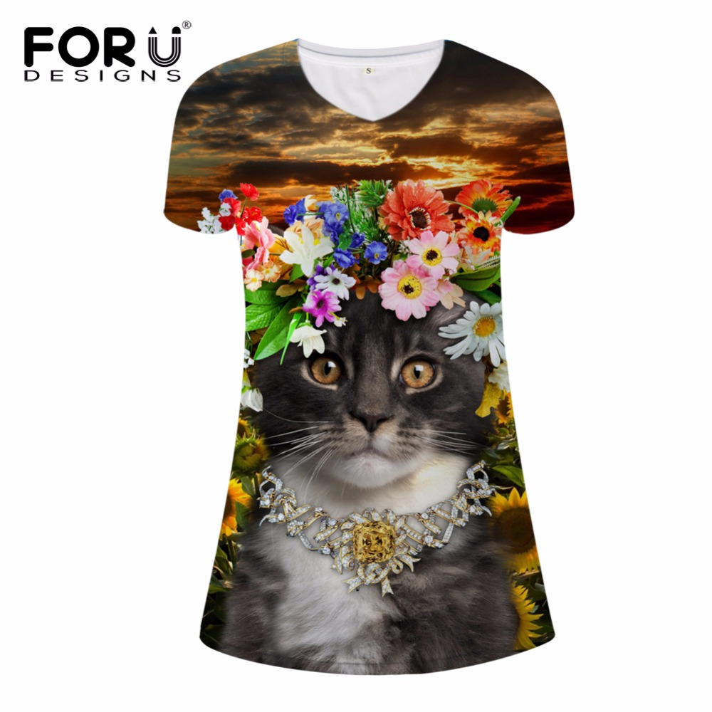FORUDESIGNS Slim Beauty Women Summer Dress 3D Floral Cat Print Pencil Dress for Ladies New Fashion Short Dresses V-neck Dresses