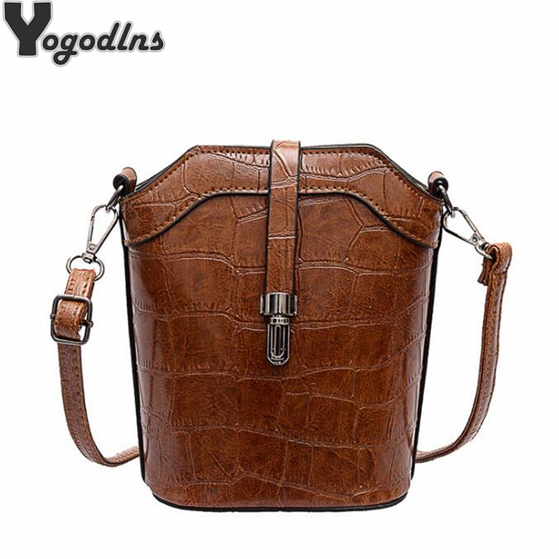 Vintage Pu Leather Bucket Women Handbag Diagonal Small Mobile Phone Shoulder Bag Personality Girl Retro Lock Crossbody Purse Bag