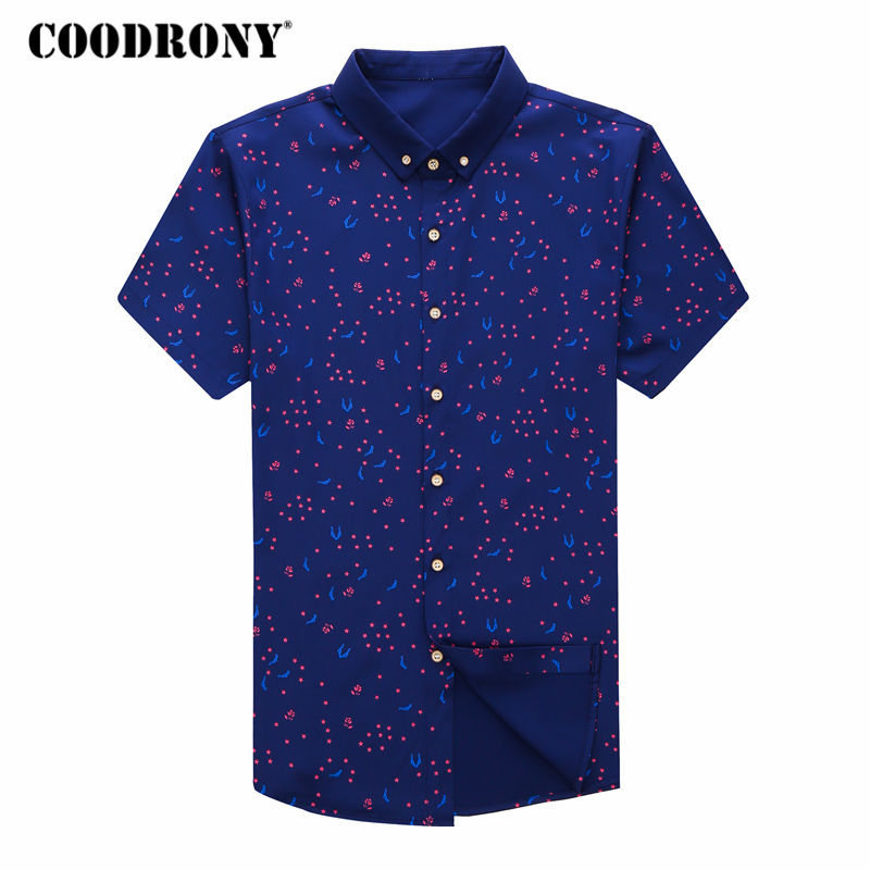 COODRONY Shirt Men Brand Clothes 2018 Summer Plus Size Mens Business Casual Shirts Dot Print Short Sleeve Camisa Masculina S8712