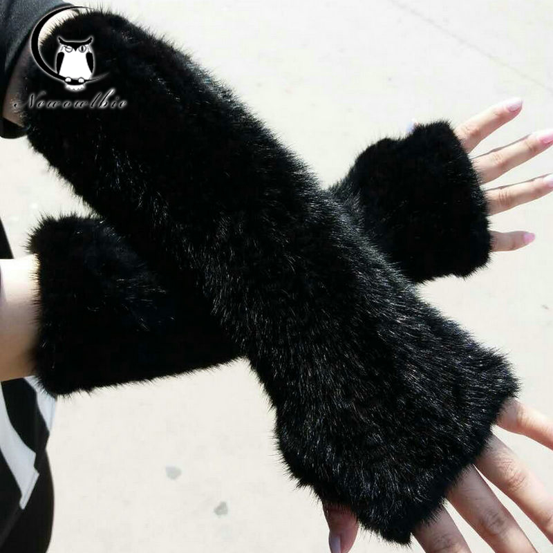 30cm 40cm Women s spring and winter leather gloves room natural mink long gloves 2019latest fashion