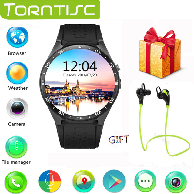 Torntisc Kingwear Kw88 Bluetooth 3 г Wi-Fi умные часы ОС Android 5.1 камеры 2.0 мегапиксельная SmartWatch поддержка Nano SIM карты gps