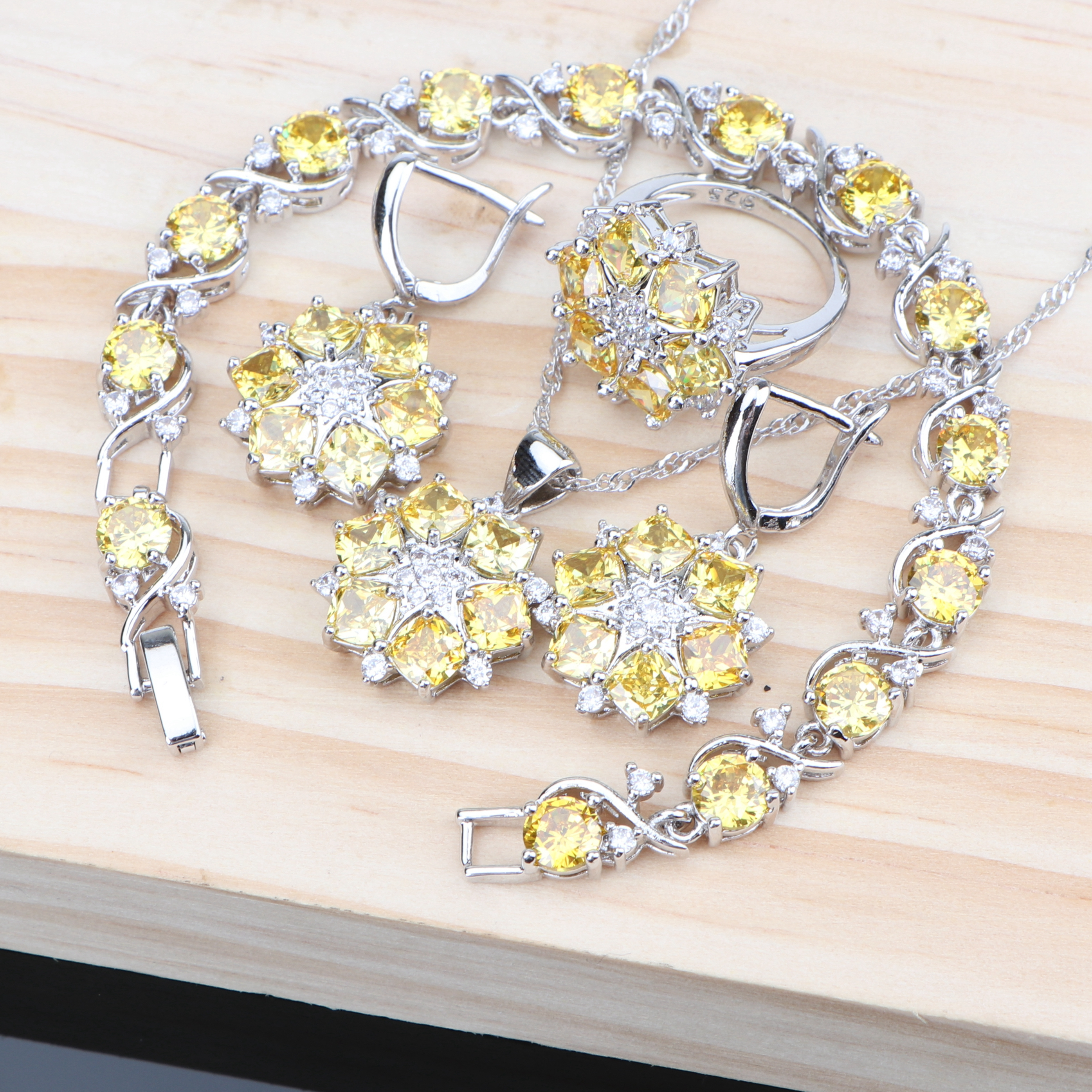 Yellow Zirconia Silver 925 Jewelry Sets Women Bridal Costume Wedding Jewelry With Earrings Bracelet Ring Necklace Pendant Set