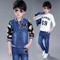 3 шт. дети мальчики комплект одежды детские белая футболка лоскутное с длинным рукавом молнии пальто и джинсы детская одежда мальчик одежды 5-9 Т