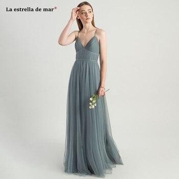 Sukienka druhna2019 new tulle sexy V neck A Line gray green burgundy blue gray wedding party dress long vestido dama de honor bo
