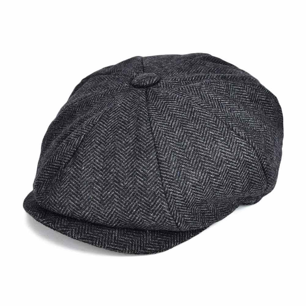 299ff1352ba VOBOOM Wool Blend Tweed Newsboy Cap Mens Flat Caps Women 8 Panel Autumn  Winter Cabbie Driver